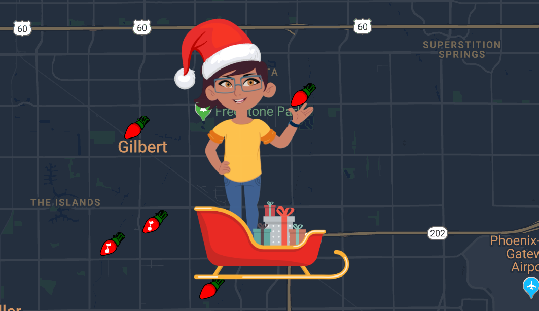 Gilbert Holiday Lights Map with Alex